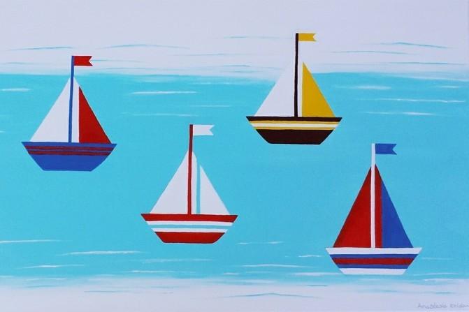 Maritimes auf Leinwand: Ein Unikat als Geschenk zur Geburt