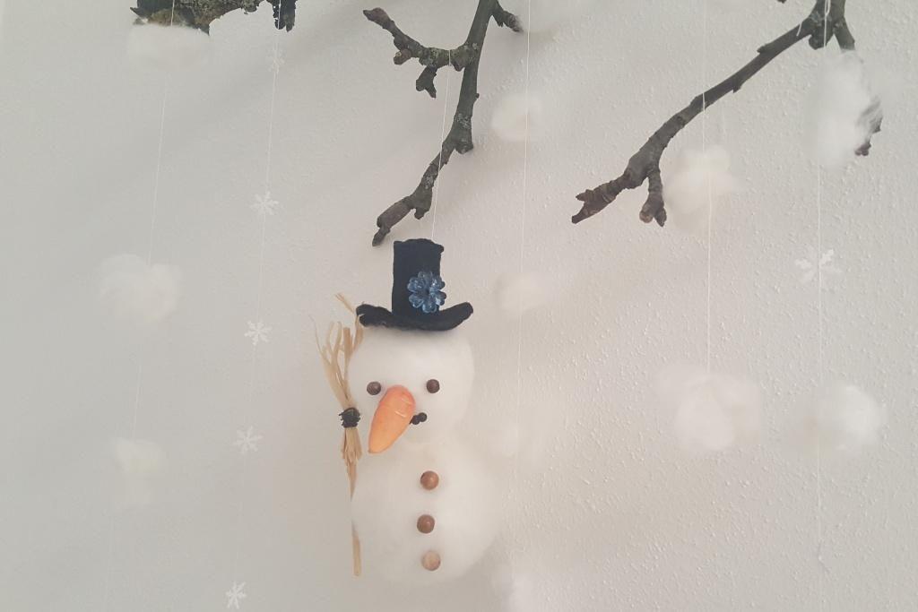DIY: Winterliche Schneemann-Mobiles
